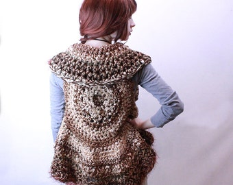 SALE Woodland lacy vegan sweater bolero shawl oat cream brown