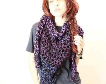 SET My Love Rasta chunky lace cowl scarf open end Vegan Boho purple haze eggplant black