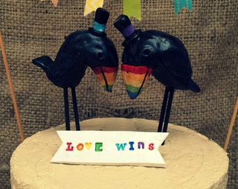 Love Wins Rainbow Toucans in Love Folk Art wedding cake topper Banner and Bunting Ready to ship