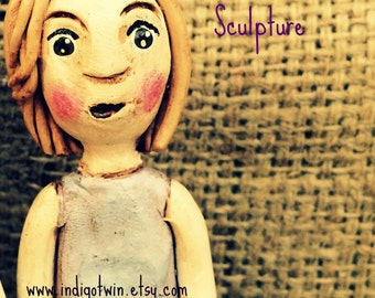 Customize ONE child clay folk art sculpture for your birthday anniversary or special occasion based on your photos