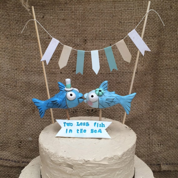 Blue Kissing Fish cake topper-bunting and banner for your Rustic Beach Wedding set of three
