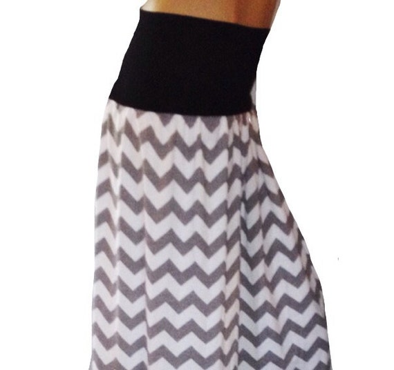 gray chevron maxi skirt summer dress on sale by phatcatpatch