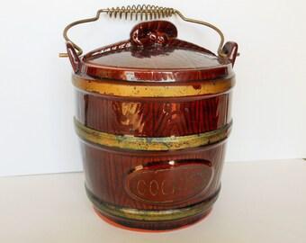 Vintage Brown Ceramic Redware Cookie Jar