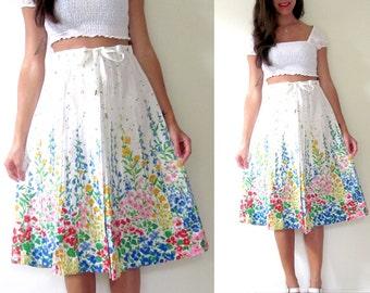 Vintage 60s 70s Floral Button Down A Line Skirt (size medium, large)