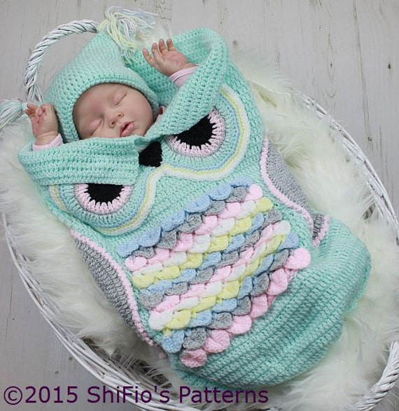 CROCHET PATTERN For Owl Baby Cocoon, Papoose & Hat in 3 Sizes U.K, U.S ...