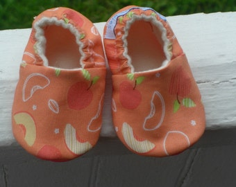 Soft Sole Baby Shoes, Baby Slippers, Baby Girl, Baby Shower, Peach