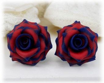 Blue Tip Red Rose Earrings Stud or Clip On