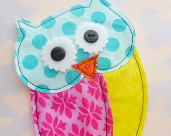Owl Sewn Fabric Applique