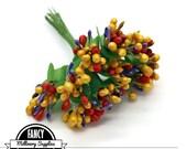 1 - Orange / Red / Purple -  Pip Berry Cluster - Floral Stamens - Flowers - Millinery - Vintage Look