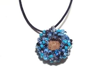 Beaded Acorn Cap Natural Necklace Blue Elegant Rustic Charm Over 1 Inch Across Oak Acorn Pendant OOAK Jewelry Gift for Girlfriend Woman Mom