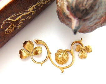 BRASS Branch Thistle and Clover Stamping - Jewelry Findings (C-1309) #