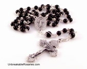 Miraculous Medal Rosary Beads In Black Onyx With Pardon Crucifix by Unbreakable Rosaries