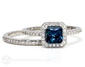 London Blue Topaz Engagement Ring & Wedding Band Bridal Set 14K or k18K Gold Palladium Diamond Halo Wedding Set Blue Gemstone Ring