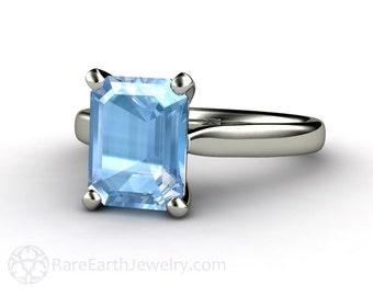 Aquamarine Engagement Ring Aquamarine Ring Solitaire Aqua Ring March Birthstone 14K or 18K Gold