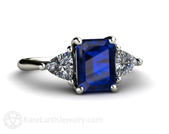 Platinum Blue Sapphire Engagement Ring 3 Stone Vintage Blue Sapphire Ring with Diamond Trillions