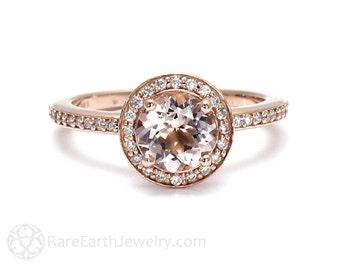 Morganite Ring Morganite Engagement Ring Round Diamond Halo Conflict Free in 14K or 18K Gold Pink Gemstone Ring