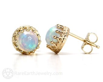 14K Opal Earrings Opal Studs Gold Post Earrings October Birthstone