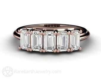 White Sapphire Band Emerald White Sapphire Ring Anniversary Band Wedding Ring Gemstone Ring