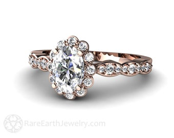 Moissanite Engagement Ring Oval Halo Conflict Free Diamonds 14K or 18K Gold Forever Brilliant Moissanite