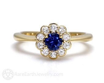 Blue Sapphire Engagement Ring 14K Sapphire Ring Diamond Halo Gold or Palladium Custom Wedding Ring