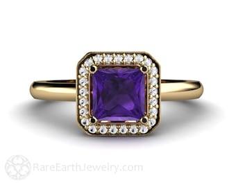 Princess Amethyst Ring Amethyst Engagement Ring Emerald Diamond Halo February Birthstone 14K or Palladium