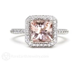 Princess Morganite Engagement Ring Morganite Ring Diamond Halo 14K or 18K Gold or Platinum