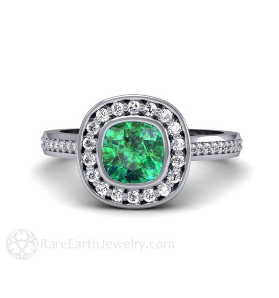 emerald engagement ring bezel set cushion with by rareearth