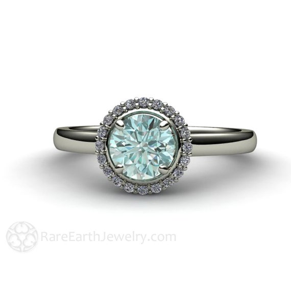 blue engagement ring halo conflict free custom