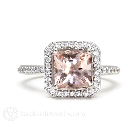 14K Princess Morganite Engagement Ring Morganite Ring Diamond Halo 14K Gold or Palladium