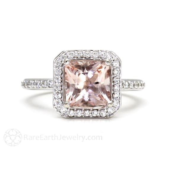 Princess Morganite Engagement Ring Morganite Ring Diamond Halo 14K or 18K Gold or Platinum
