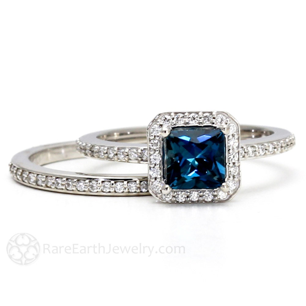 blue topaz engagement ring wedding band by rareearth