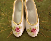 Vintage mini porcelain Rose shoes pair
