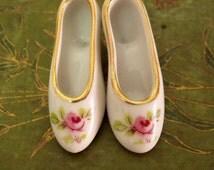 Vintage mini porcelain Rose shoes pair