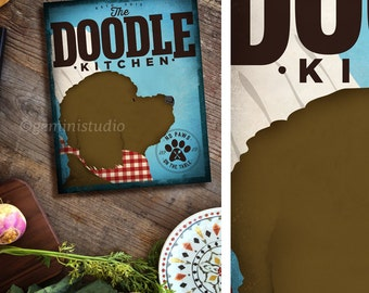 Doodle Goldendoodle Labradoodle Dog kitchen artwork on gallery wrapped canvas by Stephen Fowler Pick Your Breed