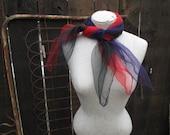 50s Vintage Nylon scarf Sheer Purple vintage 50s hair bow square purple scarf