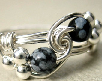 Snowflake Obsidian Ring Wire Wrapped Sterling Silver Duet