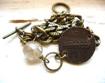 Coin Jewelry, Rutilated Quartz Coin Charm Bracelet, Gemstone Birthstone Coin Jewelry, Handmade Artisan Bracelet