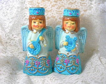 Blue Christmas Angel Candle Holders, Paper Mache, Vintage c1970s, Holiday Retro Kitsch, Home Decor, Commodore Japan