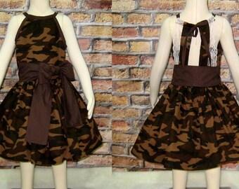 Camouflage Lace Dress, Camo Girl Dress, Little Girl Dress, Girl Fall Dress, Girl Brown Dress, Vintage Style Girl Dress, Girls Dresses