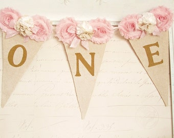 High Chair Banner, Pink and Gold Birthday, Shabby Chic Birthday, Girl 1st Birthday Decor, 1st Birthday Party Decorations, One Banner