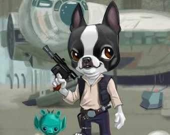 Boston Terrier Han Solo dog boston terrier art print painting