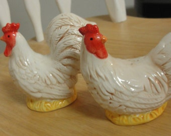 Ceramic Chicken and Rooster Salt and Pepper Shakers