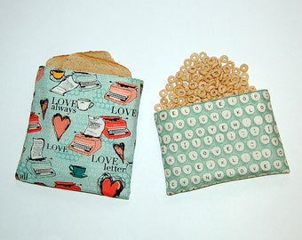 Vintage Typewriter (Turquoise) - Eco Friendly Reusable Sandwich and Snack Bag Set