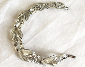 Vintage Bracelet, Signed Coro, Shiny Silver, Links, Leaves, Chunky, Modern