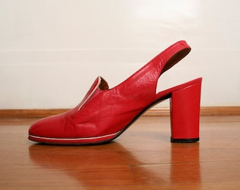 Vintage 1970s Heels - Chunky Heel Cherry Red Mr Seymour Shoes - Size US 7