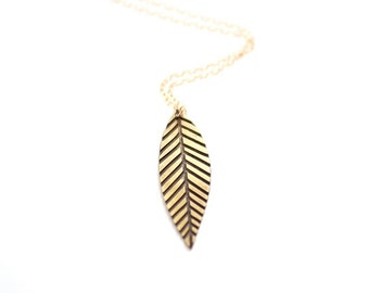 Etched Midcentury Feather Necklace - Brass, Gold Fill or Sterling Silver