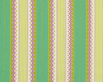 SALE fabric, Heather Bailey Lottie Da fabric by Fabric Shoppe- Carousel Stripe in Turquiose- You choose the cut. Free Shipping Available