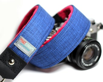Denim Camera Strap - Premier Edition Ultra Marine with Red Minky