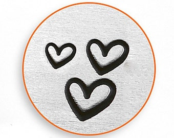 Design Stamps - 3 SUPER CUTE HEARTS - 1.5mm, 2mm and 3mm stamped images by ImpressArt -  includes How to Stamp Metal tutorial