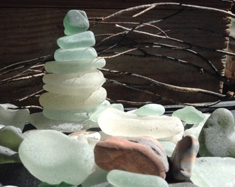 SEA GLASS...from Scotland 40 plus loose genuine sea glass pieces - undrilled - supplies - white green aqua ~ home craft